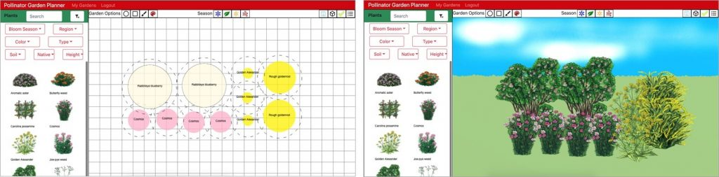 Images of the app output containing garden diagrams and a visualization of the plant arrangements.